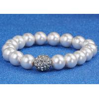 Best Wedding Costume Pearl Bracelets For Bride / Bridesmaids With Gold Ball Diamonds wholesale