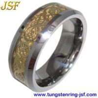 China 2012 Golden Tungsten Wedding Rings Foil Inlaid Tungsten Ring on sale