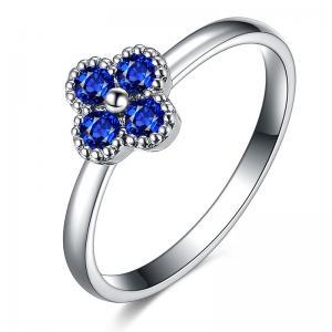4 Stone 18k Gold Sapphire Diamond Ring , Flower Shaped Engagement Ring