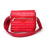 China Waterproof Soft Nylon Shoulder Bag with Leather Trimming Quilted , Red wholesale