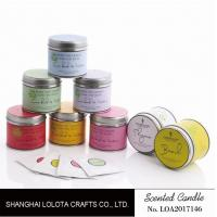Best 200g Soy Wax Scented Tin Candles 7.5cm*7cm With Liden Flower / Patchouli Fragrance wholesale