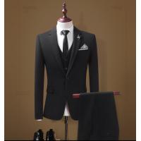Custom Mens Business Tuxedo Slim Fit Three Piece Suit / Formal Clothes