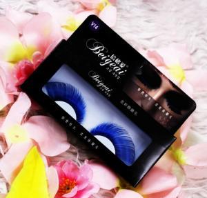Best Blue Handmade Halloween False Eyelashes For Eye Makeup , Crazy Fake Eyelashes wholesale
