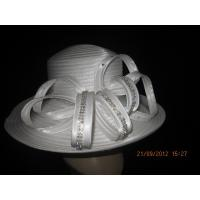 Best Custom Comfortable Ladies White Church Hats , Women Church Hat Squared Crown wholesale