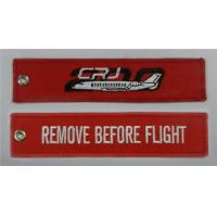 Remove Before Flight CRJ-200 Embroidered Key Ring Banner Twill With Metal Ring 12 x 3cm 100pcs lot