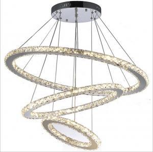 China Chrome Diamond Ring Modern Hanging Ceiling Lights Adjustable Chandelier on sale