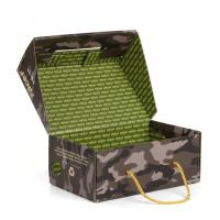 China Luxury Custom Printed Corrugated Shoe Boxes With PP Rope Handle on sale
