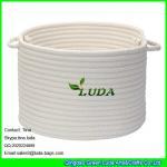 Best LUDA 2015 hot sale home cotton cord storage basket white stroage bin bag wholesale