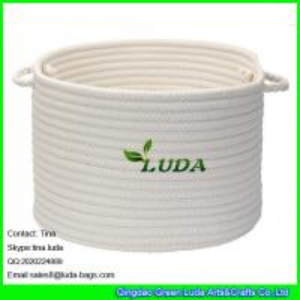 LUDA 2015 hot sale home cotton cord storage basket white stroage bin bag