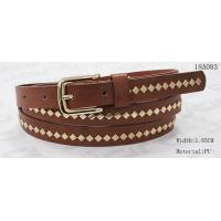 Best Polished Patterns Womens Fashion Belts With Gold Buckle And Square Metal Studs 1.85cm Width wholesale