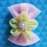 Best Pink Toddler Girl Hair Accessories Handmade Customized Size With Bead Ribbon wholesale