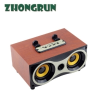 China Classic wooden retro Bluetooth computer desktop small speaker portable Bluetooth wooden box subwoofer on sale