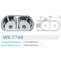 Best double bowl Electric plating kitchen stainless 201 steel sink  cabinet  inserts wholesale
