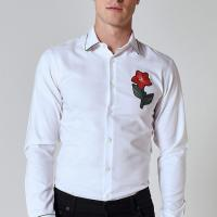 Best Custom Embroidery Mens Fashion Casual Shirts , White Long Sleeve Collar Shirt wholesale