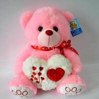 Best Cute Plush Toys for baby, Valentine's Day Present, Peachpuff Bear Plush with Heart. wholesale
