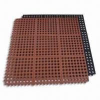 China Interlocking Anti-fatigue Rubber Floor Tiles, Widely Used in Kitchen, Measures 3 x 3ft on sale