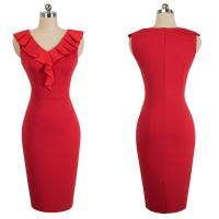 Cheap Summer Women Red Pencil Dress Sleeveless High Waist Elegant Slim Deep V-neck for sale