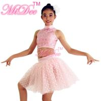 Best Ballet Jazz And Belly Dancing Clothes Sequin High Neck Sleeveless Prints Skirt Figure Skating Competition Dress wholesale