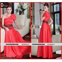 China One Shoulder Pleated Waist Sequins Satin Ankle-length Ruffle With Belt Evening Dress Formal Wear on sale