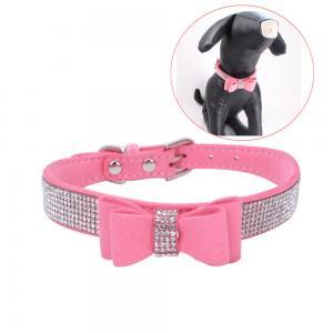 China Double-layer microfiber bow-tie Rhinestone Dog collar diamante Cute Pet Collars on sale