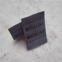 Best Color Grey Back Woven Clothing Labels High Frequency Micro Fiber With Sewing Line Patches wholesale