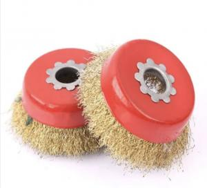 China Brass-Coated Steel Wire Bowl Cup Brush/ Brass Copper Coated Drawing Drum Wheel Wire Brush on sale