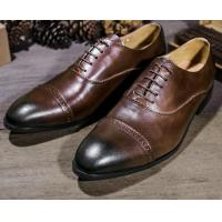 China All Seasons Men Formal Dress Shoes Brown Embossed Patent Leather Mens Shoes on sale
