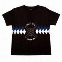 China Children's T-shirts, classic black, a motif print on front, suitable for class and team uniform on sale