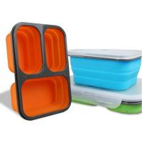 Buy cheap Hot sell Custom Oven Safe Folding 3 Compartment Silicone Food Containers Lunch from wholesalers