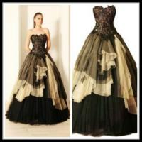 Best Black Quinceanera Party Dresses ,Yellow Long Tulle Wedding Gowns wholesale