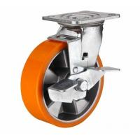 Best 8 inch Orange color Swivel aluminium core PU wheel for heavy duty caster wholesale