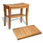 Best Durable Bamboo Bathroom Supplies Wood Shower Seat Bench With Bathroom Floor Mat wholesale