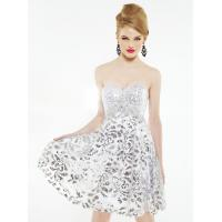 Best White Silver Empire Waist Short Evening Party Dress Mini with Lace wholesale