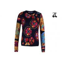 Cheap Open Cardigan Womens Crew Neck Sweaters Button Down With Flower Printing for sale