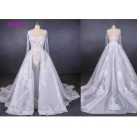 Best Long Sleeves Transparent Female Wedding Dress With Train Brides Dresses wholesale