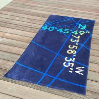 Best Multi Stripe Navy Printed Beach Towels With Longitude Latitude Monogrammed wholesale