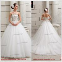China Strapless A-line Appliques Golden Beaded Puffy Tulle Buying Wedding Dress From China on sale