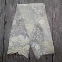 China White Embroidered Mesh Ivory Floral Lace Fabric , 130cm Wide Cotton Lace Dress Fabric on sale