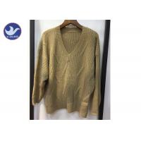 China Soft And Comfortable Chunky V Neck Knit Sweater / Women'S Long Sleeve Pullovers on sale