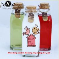 China 250ml Square French Glass Milk Bottle With cork lid on sale