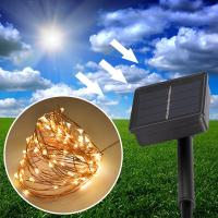 Best 10m 100 LED Multi-Color 2V 150 mAh Solar Panel Powered LED String Light For Outdoor Decoration wholesale