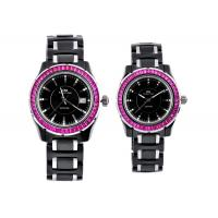 China OEM Unisex Watches, Black Ceramic Watches With Red Crystal Stones Surface on sale