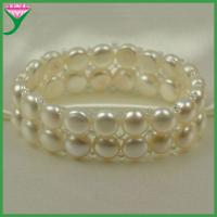 Best Factory wholesale cheap price two layers button beads white freshwater pearl bracelet wholesale