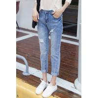 Best Button Fly Light Fading Wrinkled Womens Tapered Jeans , Destroyed Skinny Jeans wholesale