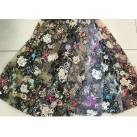 Best Multi Color Embroidered 3D Flower Lace Fabric / Fabric , Bead Lace Tulle For Dress wholesale