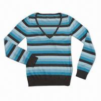 China Colorful Stripes Ladies' Sweater/Pullover, Made of 60% Viscose and 40% Cotton on sale