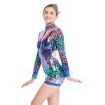 Best MiDee Full Sequins Ombre Neon Color Sequined Long Sleeve Dance Biketard Jazz Costume Jumpsuits wholesale