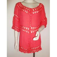 China Fashion woven top with crochet trims piecing ladies fashion apparel red color wholesale