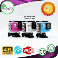 H9 Waterproof 4k Sports Action Camera With 12mp Wifi Control Via Ios / Android