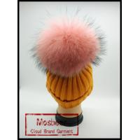 Best Beautiful Orange Knitted Beanies Hats With Pink Raccoon Fur Pom Pom Large Balls wholesale
